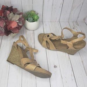 Aerosoles A2 Tan Rattan Wedge Sandals